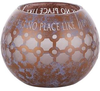 Pavilion Gift Company Pavilion - Bronze And Purple Sponge Patterned Frosted Glass 5 Inch Round Tealight Candle Holder - There's No Place Like Home