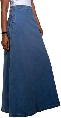 USKEES LOTTIE Long Denim Skirt - Palewash Maxi Jean Skirt with Stretch US 10-20