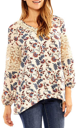 SKYE'S THE LIMIT Skyes The Limit Himalaya Long Sleeve V Neck Woven Blouse-Plus