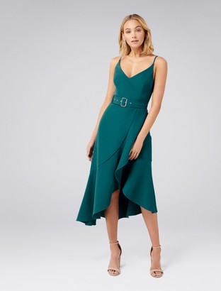 Forever New Isabella Belted Ruffle Hem Dress - Teal Oasis - 4