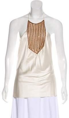 Miguelina Embellished Silk Top