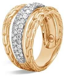John Hardy 18K Yellow Gold Classic Chain Pavé Diamond Ring