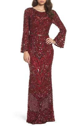 Mac Duggal Sequin Bell Sleeve Gown