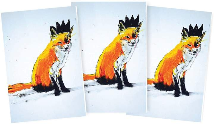 Michael Gurhy - Fox with Black Crown Greeting Card Set of 3