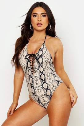 boohoo Snake Print Lace Up Front Swimsuit