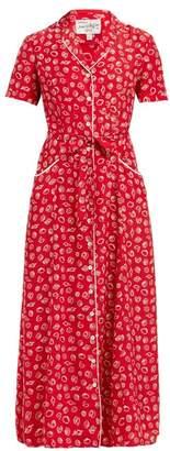 HVN Long Maria Shell Print Silk Midi Dress - Womens - Red