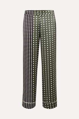 Asceno ASCENO - Polka-dot Silk-satin Pajama Pants - Army green