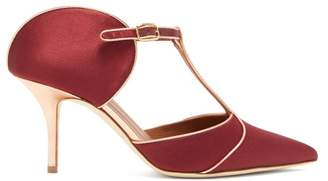 Malone Souliers Imogen T Bar Satin Mules - Womens - Burgundy