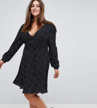 Glamorous Curve Wrap Front Dress In Spot