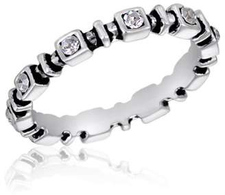 DaVinci Center Court Square Clear Stones CZ Stackable Ring Size: 10