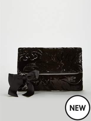 Very Khloe Velvet Sequin Foldover Clutch - Black