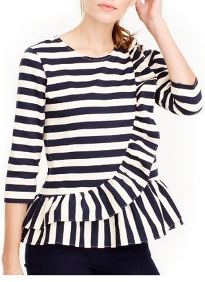 Women's J.crew Asymmetrical Stripe Ruffle Top $78 thestylecure.com
