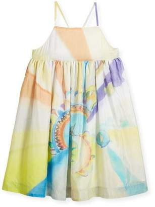 Stella McCartney Pear Cross-Back Watercolor-Print Dress, Size 4-14