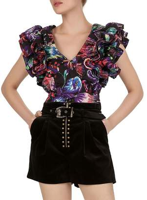 The Kooples Ruffled Sequined Floral-Print Top