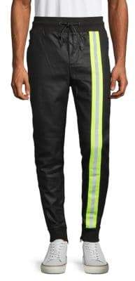 77a29682e123c Cult of Individuality Reflective Faux-Leather Jogging Pants
