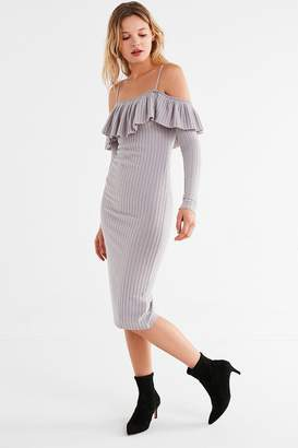 Urban Outfitters Leah Off-The-Shoulder Ruffle Bodycon Midi Dress