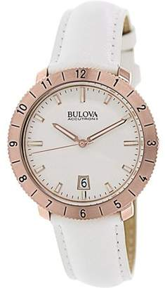 Bulova Unisex Accutron Moonview Leather Watch 97B128