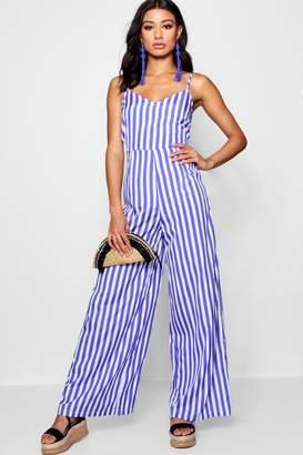 boohoo Wide Leg Stripe Jumpsuit
