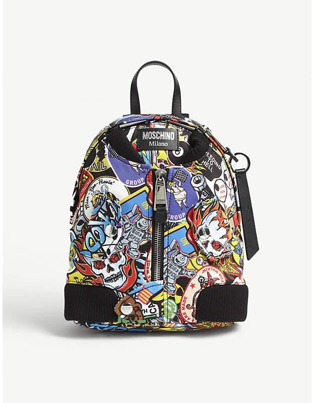 Printed bomber jacket backpack