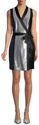 Diane von Furstenberg Women's Sequined Silk-Blend Wrap Dress