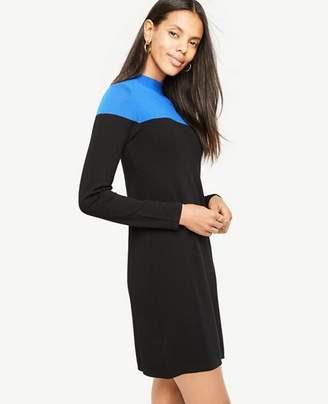 Ann Taylor Tall Colorblock Mock Neck Sweater Dress
