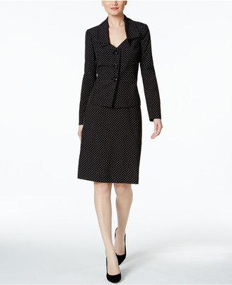 Le Suit Dot-Print Ruffle-Collar Skirt Suit $200 thestylecure.com