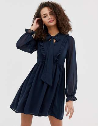 5ffe37980f Brave Soul ruffle skater dress with pussybow neck tie in navy