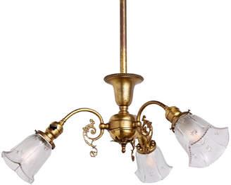 Rejuvenation Three-Light Victorian Chandelier w/ Original Brass Finish