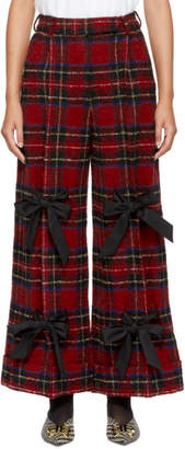 Simone Rocha Red and Black Plaid Wide-Leg Trousers