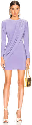 Norma Kamali Long Sleeve Draped Mini Dress