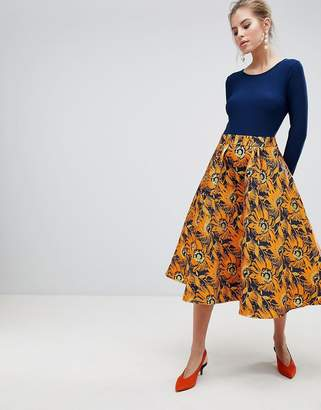 Traffic People Midi Dress With Contrast Printed Skirt