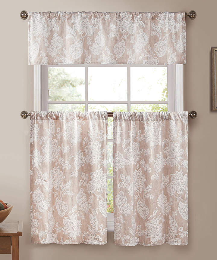 Taupe Jacquard Ewva Three-Piece Curtain Panel Set
