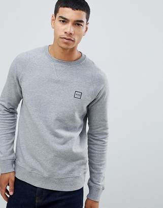 BOSS Wyan crew neck box logo sweat in grey