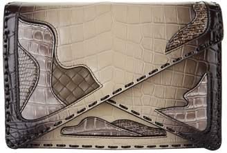 Bottega Veneta Crocodile Skin Panelled Envelope Clutch