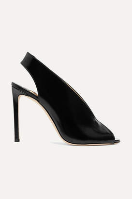 Jimmy Choo Shar 100 Glossed-leather Slingback Pumps - Black