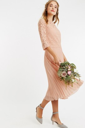 Oasis Dusty Pink Lace Top Midi Dress 9be6f769c