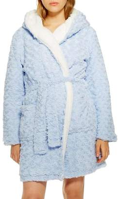 Topshop Fluffy Faux Fur Hooded Robe