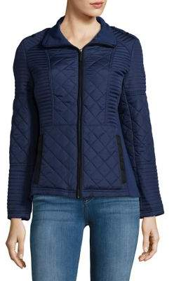 Weatherproof Plus Faux-Suede Trimmed Quilted Jacket