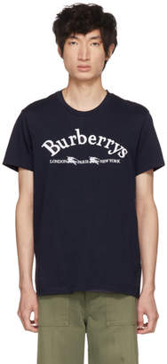 Burberry Navy Embroidered Logo T-Shirt