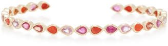 She Bee 14K Gold Coral Ruby And Sapphire Bangle