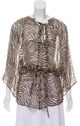 Melissa Odabash Zebra Print Silk Top