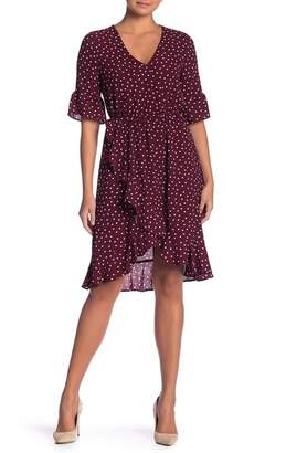 Bobeau Polka Dot Mock Wrap Ruffle Dress