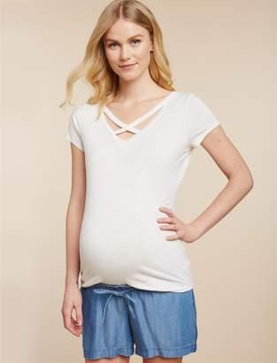 Jessica Simpson Motherhood Maternity Under Belly Decorative Trim Maternity Shorts