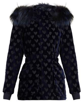 Fendi Heart Motif Velvet Jacket - Womens - Navy