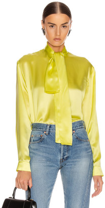 Balenciaga Scarf Blouse in Citrus Yellow | FWRD