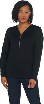 Denim & Co. Heathered Heavenly Jersey V-Neck Half Zip Top