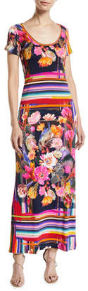 Fuzzi Cactus Short-Sleeve Mix-Print Maxi T-shirt Dress