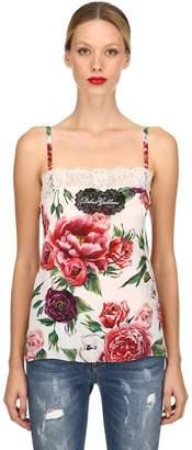 Dolce & Gabbana Roses Printed Silk Crepe De Chine Top