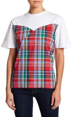 TOV Plaid Wrap Short Sleeve Tee
