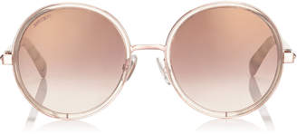 Jimmy Choo ANDIE Shaded Mirror Gold Acetate Round Framed Sunglasses with Gold Silver Crystal Fabric Detailing and Havana Brown Arms